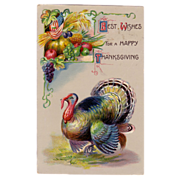 Colorful Thanksgiving Postcard w/ a Turkey