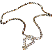Sparkly Rhinestone Necklace w/ Diamond Shape Design of Stones