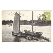 "Japanese  RPPC with "" 2 Sampans (Boats) from Hamataui"