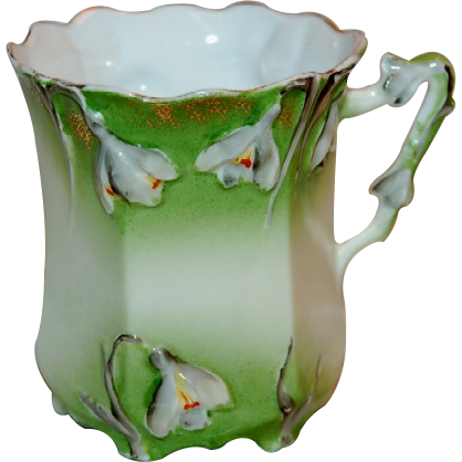 Pastel Green & White Floral Snow Drops Germany Porcelain Mug
