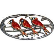 Enameled Sterling Pin with 3 Red Cardinal Birds