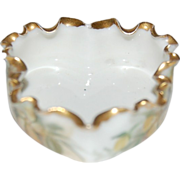 Willets Belleek Heart Shaped & Crimped Rim Individual Salt