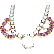 Necklace w/ Milk White Glass Stones & Pink Rhinestone Accents