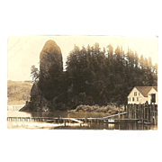 "RPPC Photograph of Rooster Rock on the "" Columbia River Hwy in Oregon """