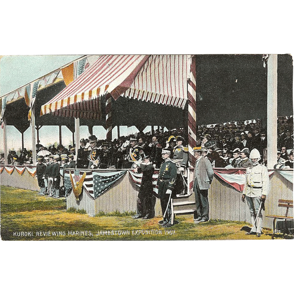 Postcard of Kuroki Reviewing Marines, &quot; Jamestown Exposition 1907 &quot;