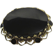 14K Gold & Onyx Antique Victorian Period Mourning Brooch