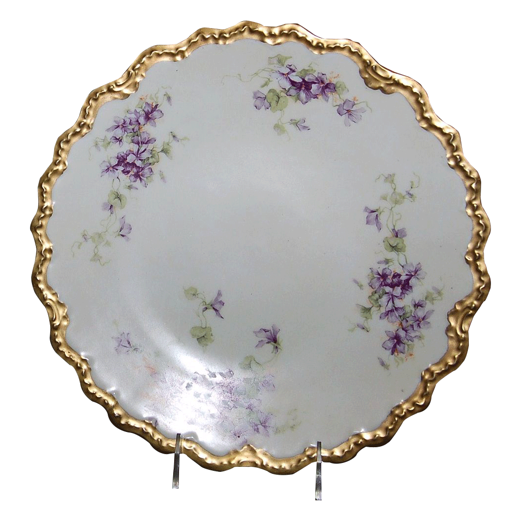 12 1/8&quot; Limoges France Charger Decorated w/ &quot;Lovely Violets&quot;