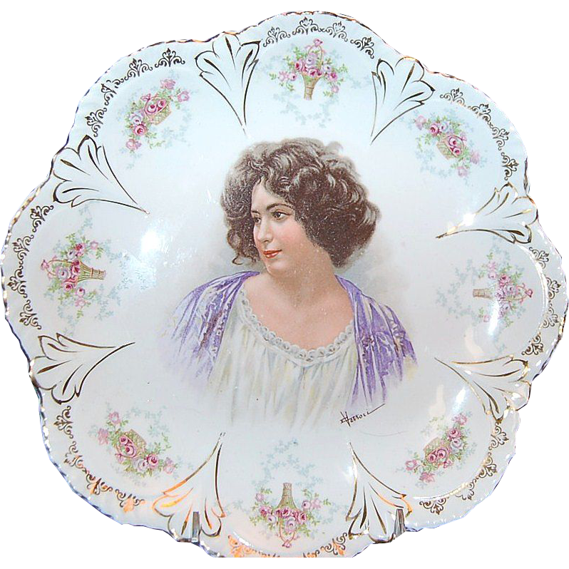 "10 5/8"" Empire China Austrian Portrait Plate circa 1890's"