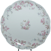 7 1/2&quot; Haviland Dessert / Salad Plate w/ Pink Trumpet Flowers & Blue Clematis Flowers