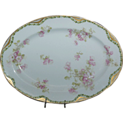 Very Pretty Fancy Haviland 11 5/8&quot; Platter w/ Pink Wild Roses