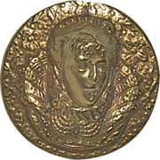 Vintage Brass Button with a Ladies Blown Out Head of the Virgin Queen