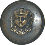 "Vintage 1 1/4"" Brass Button with Egyptian Pharaoh in Bas Relief"