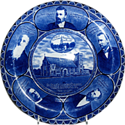 Rolled Edge Blue & White Souvenir Plate of &quot; St. Paul's Union Church &quot;