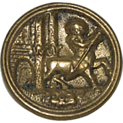 Very Old Figural Brass Sewing Button of a Centaur ( Half Man / Half Horse )