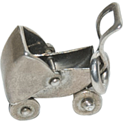 "Sterling Silver Charm for a Charm Bracelet "" Baby Buggy Movable Parts """