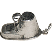 "Sterling Silver Charm for Charm Bracelet ""Baby Shoe"""