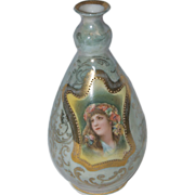 Cabinet Bud Vase with a Beautiful Lady Portrait / Royal Saxe E S Germany