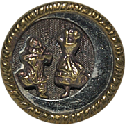 Vintage Brass Button Performing Clowns dancing on a Quarter Moon / Piero & Pierette