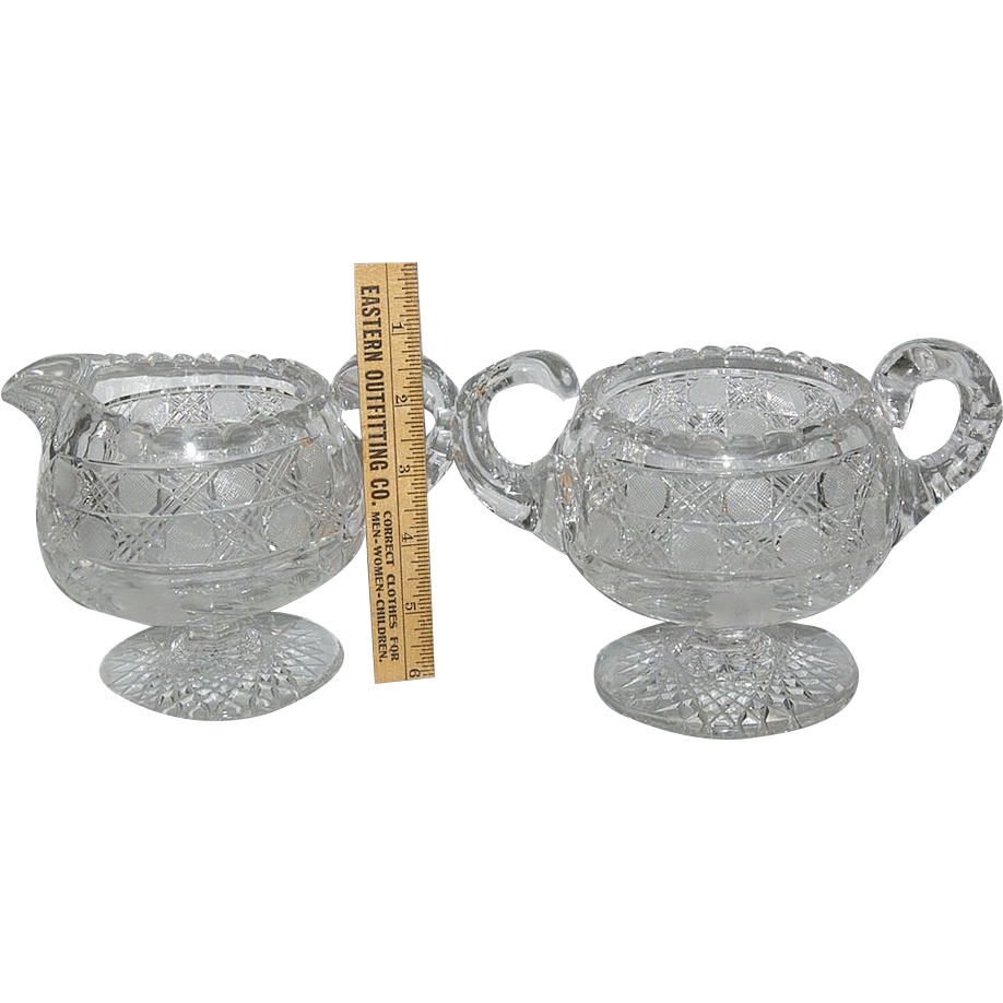 Monumental Pair of Brilliant / Flower Period Pedestal Creamer & Sugar
