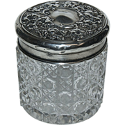 English Silver Sterling Top with Cut Glass Dresser Jar