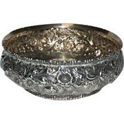 Superb Blown Out Floral Decorated Repousse Sterling Bowl by Wm B Durgin Co