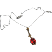 Dainty Necklace with dangling Red Bead Drop & Sterling Chain