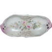 Pretty in Pink Germany Relish Dish w/ Pink Roses & Pearlized Finish