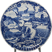 Blue & White Souvenir Plate of the &quot;Mohawk Trail&quot;