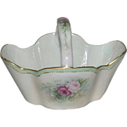 "Bavarian Porcelain Hand Painted Basket with ""Roses"""