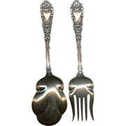 Heavy 2 pc Renaissance Pattern circa 1894 by Dominic & Haff Sterling Silver Salad Serving Set