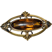 Victorian GF Oval Long Pin with Glass colored like Topaz / Amber