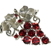Cluster of Deep Red Grapes Pin / Brooch Signed Lisner Pin