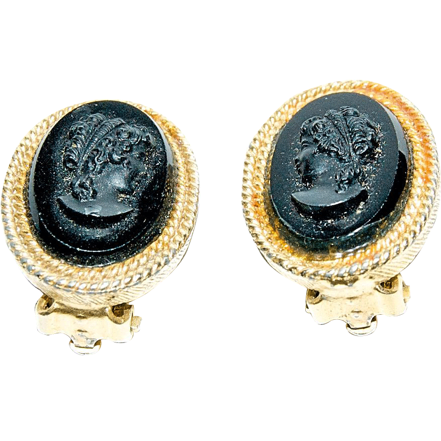 "Black Glass Jet  ""Cameo"" Clip on Earrings"
