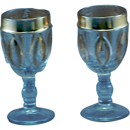 Pair of Matched EAPG Pattern Glass Cordials w/ Gold Decoration
