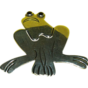 Sterling Silver Frog Pin / Brooch