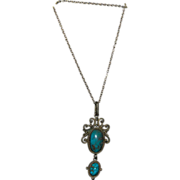 1910's - 1920's Etruscan Style Necklace w/ Two Turquoise Drops