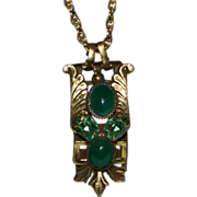 Necklace with a Pendant Green Glass Stones