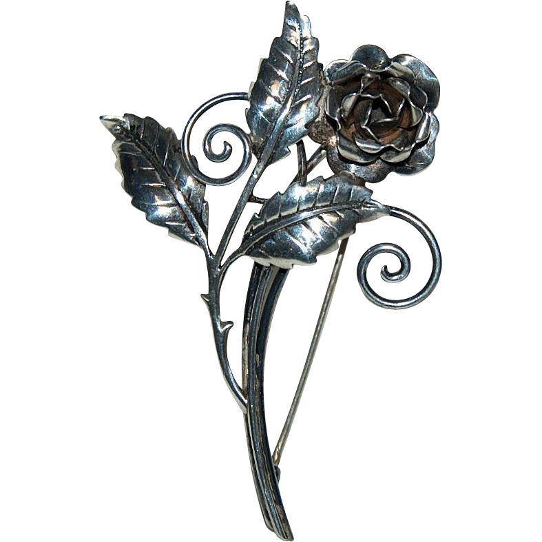 Sterling Silver Brooch / Pin w/ Rose Bloom & Leaves Design