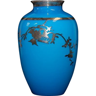 19th Century French Blue Opaline Vase w/ Sterling Overlay