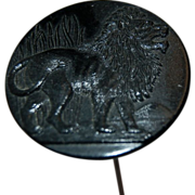1900's Antique Jet Black Glass Large Round Hat Pin w/ Lion Figure