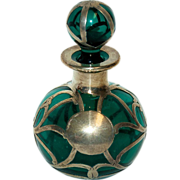 Sterling Silver Alvin Overlay Perfume Bottle w/ Dark Green Glass & Ball Stopper