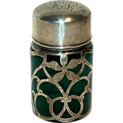 Sterling Silver Overlay Perfume Bottle w/ Dark Green Glass & Sterling Cap