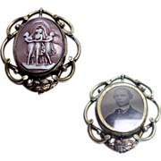 Rare 1880's -1890's Victorian Photo/Cameo Swiveling Brooch/Pin