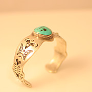 Vintage Sterling Silver and Turquoise Bangle