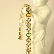 Italian Modern Design Link Bracelet with Multi Color Stones