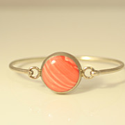 Vintage Sterling Silver Bangle Bracelet with Round Pink Agate Mexico