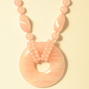 Genuine Rose Quartz Beaded Necklace with Large Round Pendant
