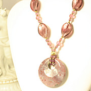 Vintage Murano Purple Glass Necklace w/ Agate & Sterling Silver Chain