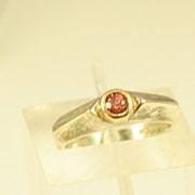 Vintage Art Deco Design Sterling Silver & 14k Yellow Gold Ring