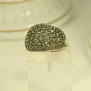 Vintage Sterling Silver & Marcasites Ring in Modern Design